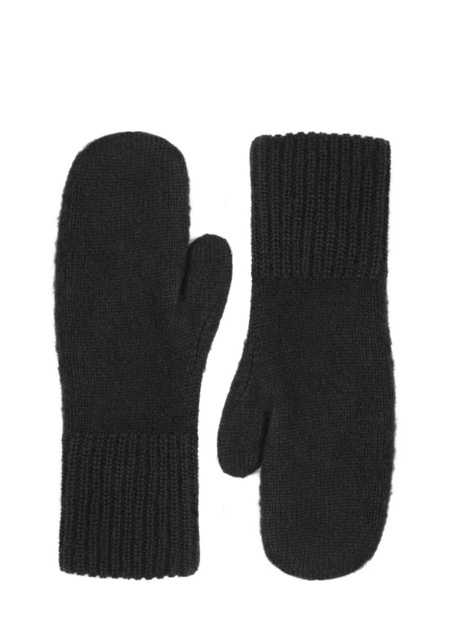 Knitted-Mittens-Black